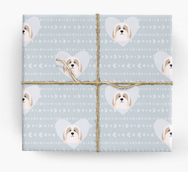 'Hearts' Wrapping Paper with Bearded Collie Yappicons