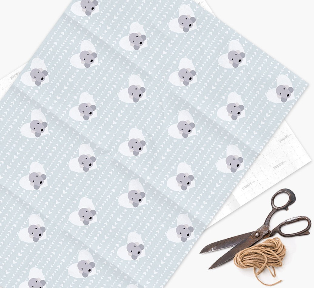 Wrapping Paper 'Hearts' with Bedlington Terrier Icons