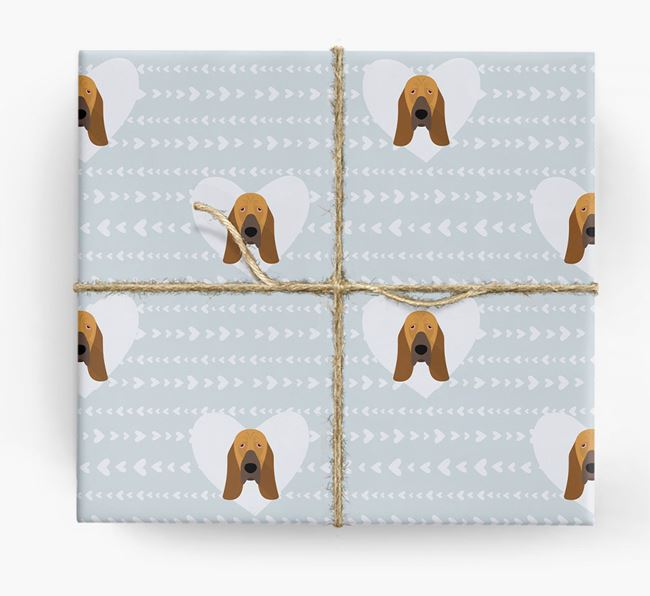 'Hearts' Wrapping Paper with Bloodhound Yappicons
