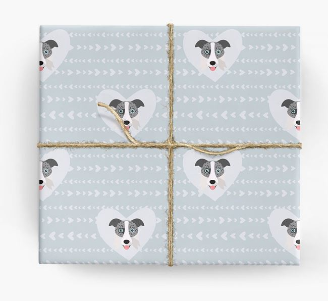 'Hearts' Wrapping Paper with Border Collie Yappicons