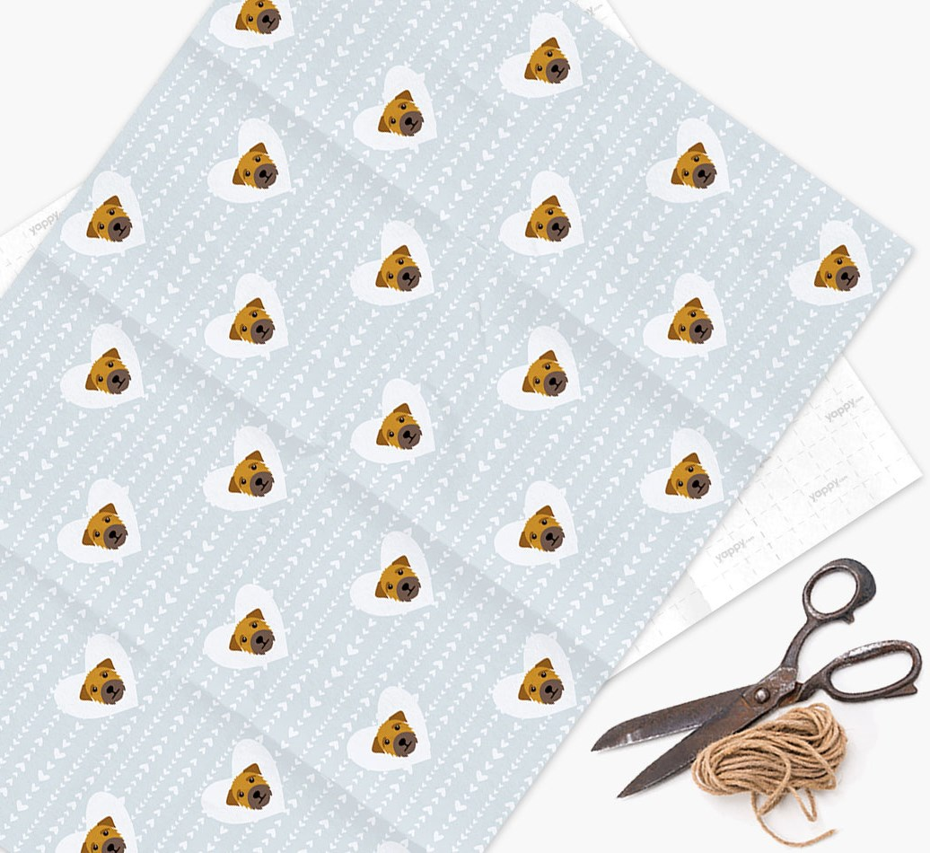 Wrapping Paper 'Hearts' with Border Terrier Icons