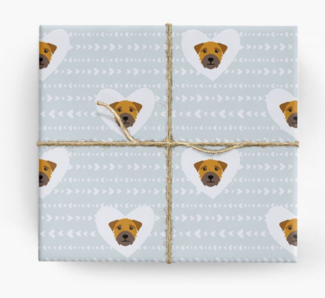 'Hearts' Wrapping Paper with Border Terrier Yappicons