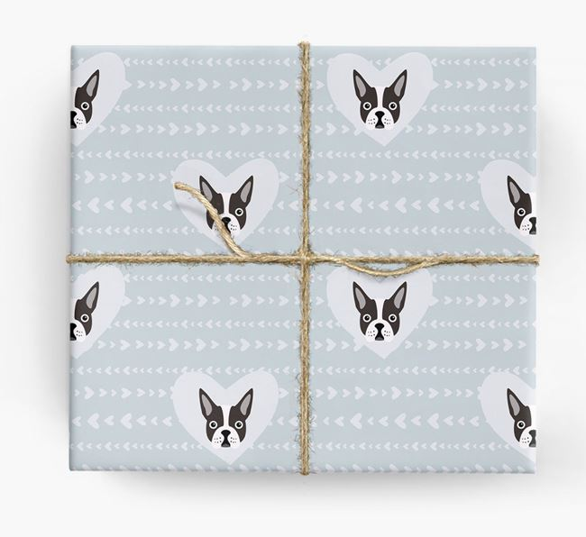 'Hearts' Wrapping Paper with Boston Terrier Yappicons