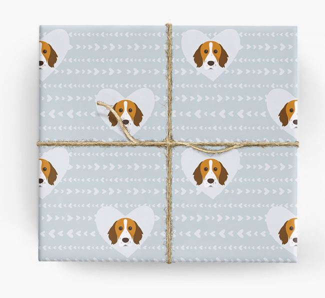 'Hearts' Wrapping Paper with Brittany Spaniel Yappicons