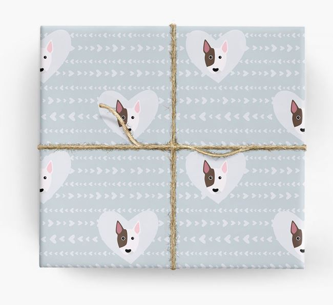 'Hearts' Wrapping Paper with Bull Terrier Yappicons