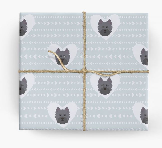 'Hearts' Wrapping Paper with Cairn Terrier Yappicons
