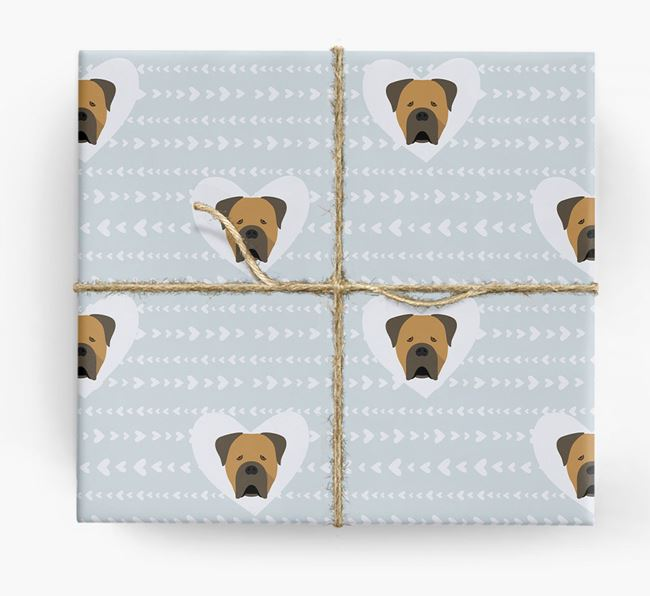'Hearts' Wrapping Paper with Cane Corso Yappicons