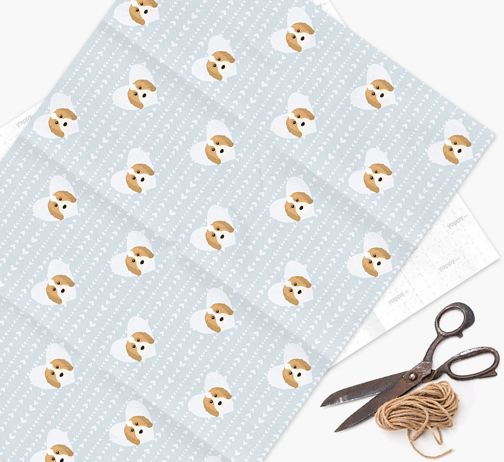 Wrapping Paper 'Hearts' with Cavapoo Icons