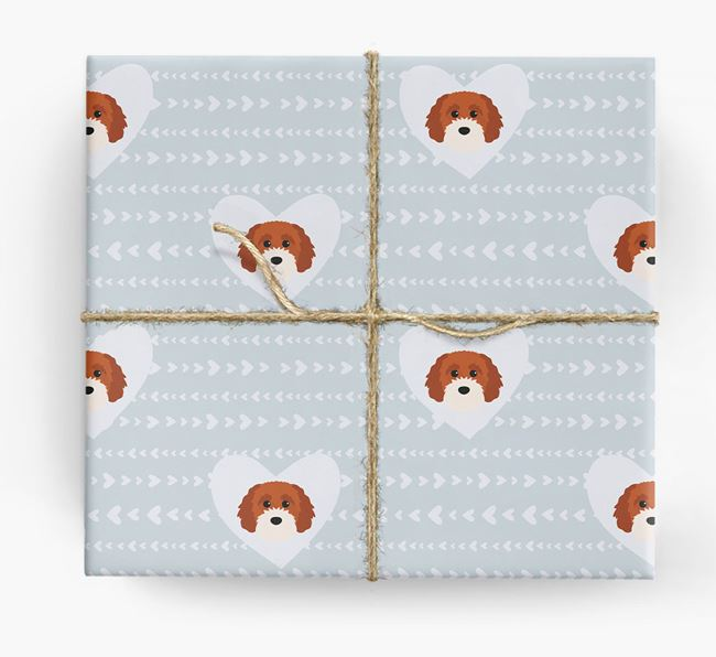 'Hearts' Wrapping Paper with Cavapoochon Yappicons