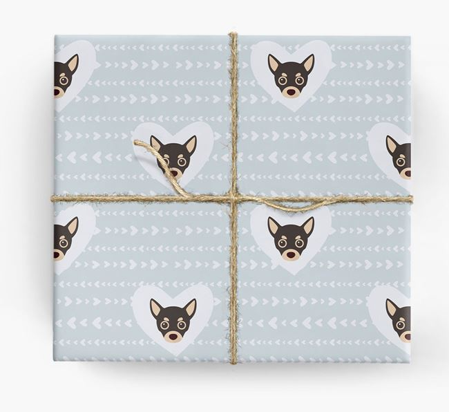 'Hearts' Wrapping Paper with Chihuahua Yappicons