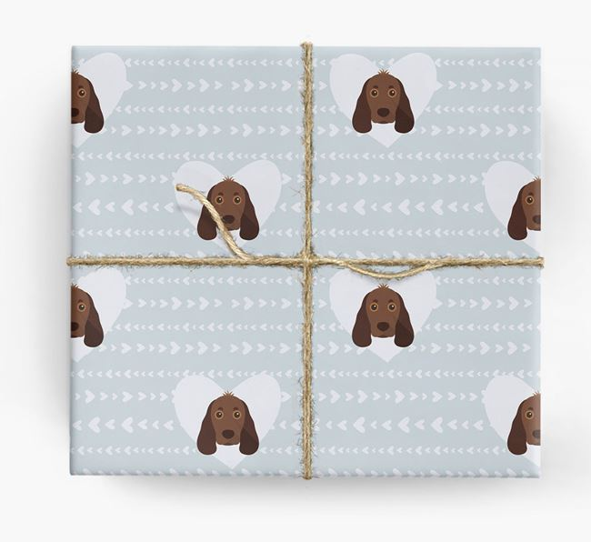 'Hearts' Wrapping Paper with Cocker Spaniel Yappicons