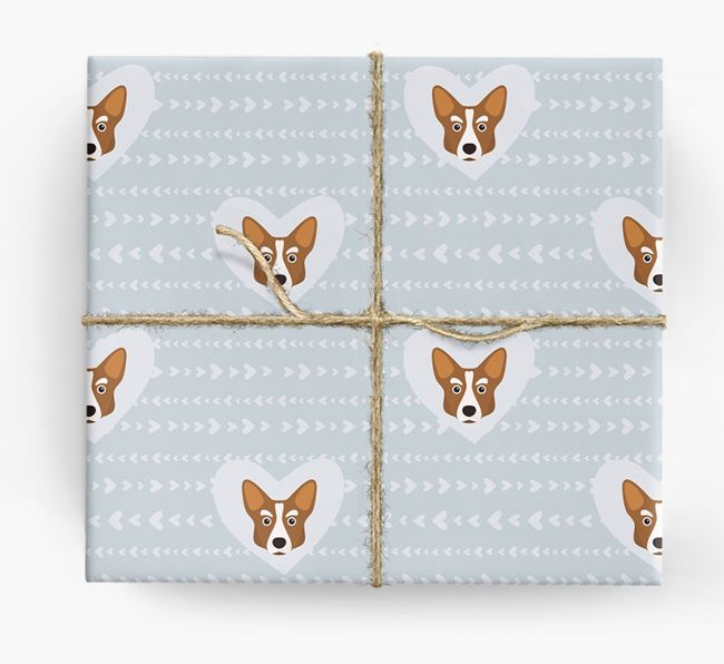 'Hearts' Wrapping Paper with Corgi Yappicons