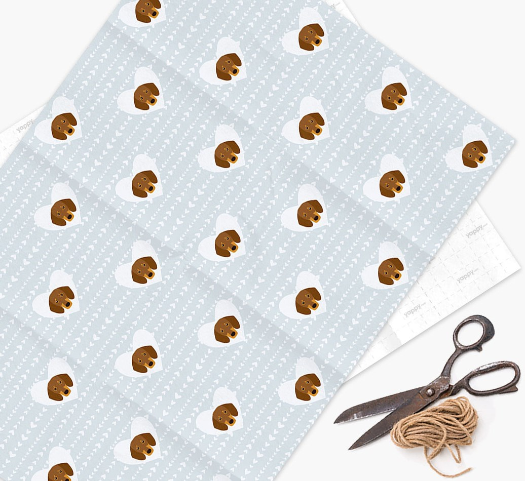 Wrapping Paper 'Hearts' with Dachshund Icons