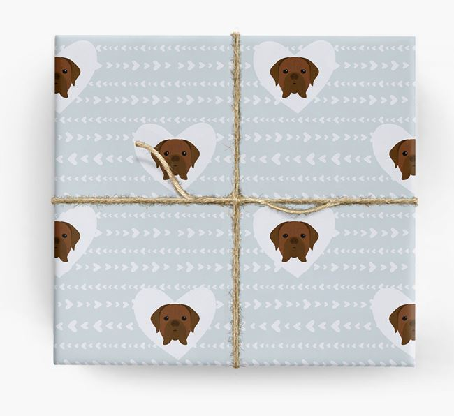 'Hearts' Wrapping Paper with Dogue de Bordeaux Yappicons
