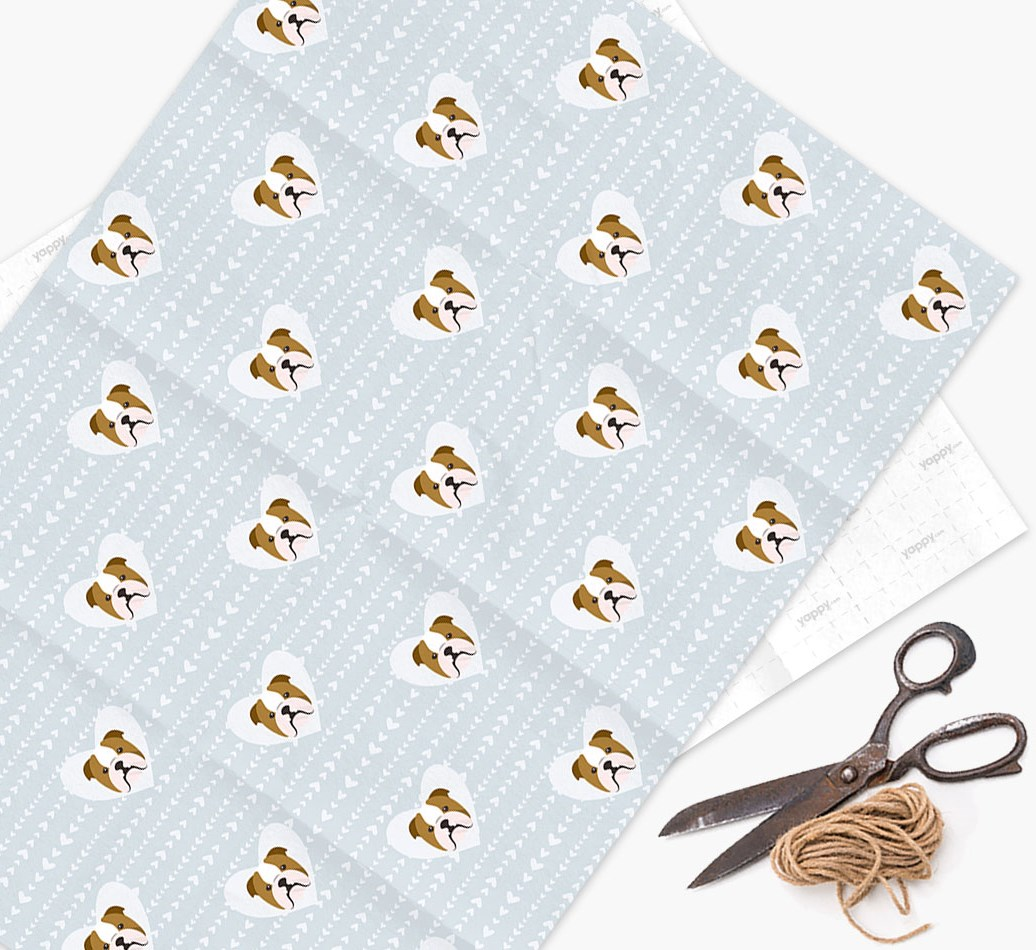 Wrapping Paper 'Hearts' with English Bulldog Icons