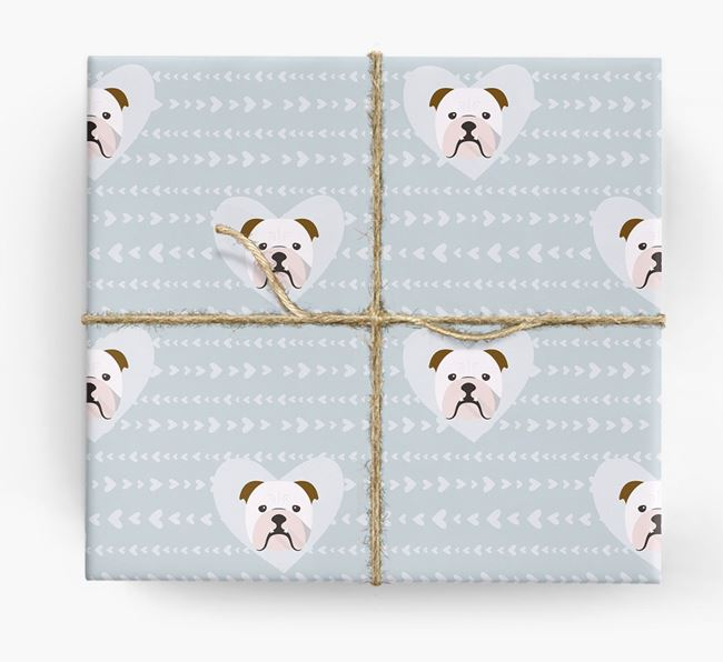 'Hearts' Wrapping Paper with Bulldog Yappicons