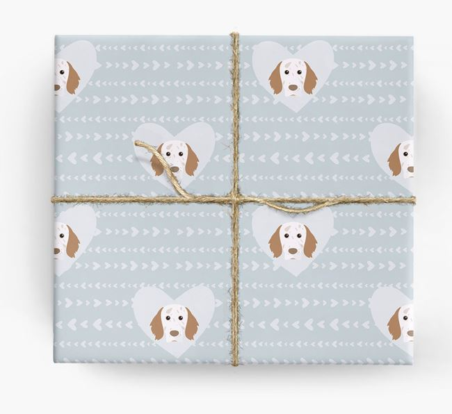 'Hearts' Wrapping Paper with English Setter Yappicons
