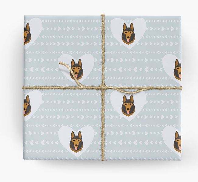 'Hearts' Wrapping Paper with German Shepherd Yappicons