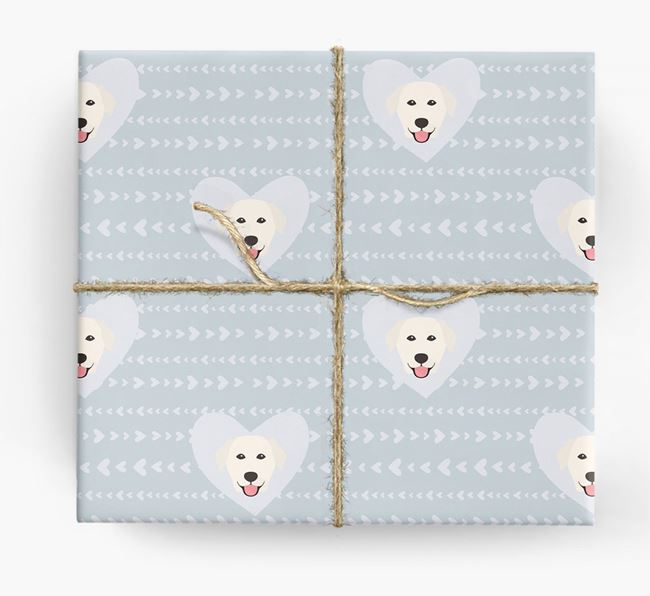 'Hearts' Wrapping Paper with Golden Lab Yappicons