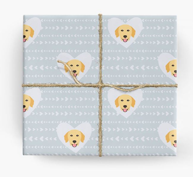 'Hearts' Wrapping Paper with Golden Retriever Yappicons