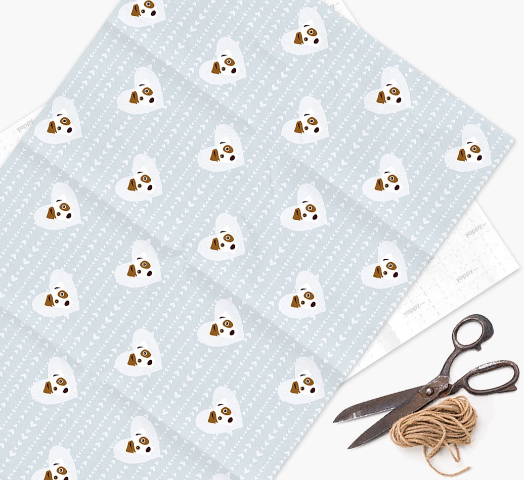 Wrapping Paper 'Hearts' with Jack Russell Terrier Icons