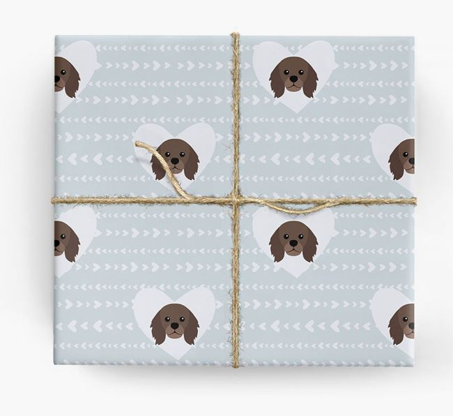 'Hearts' Wrapping Paper with King Charles Yappicons