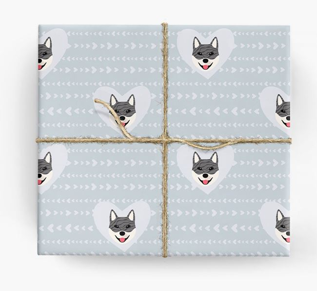 'Hearts' Wrapping Paper with Jindo Yappicons
