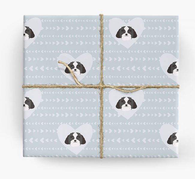 'Hearts' Wrapping Paper with Lhasa Apso Yappicons