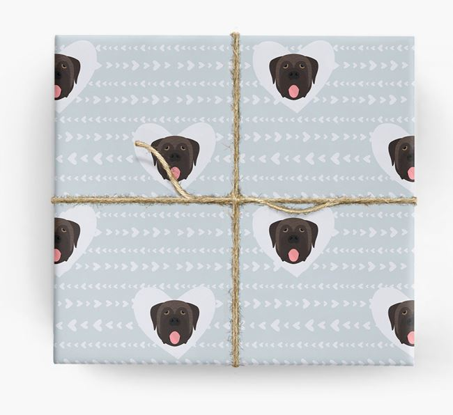 'Hearts' Wrapping Paper with Mastiff Yappicons