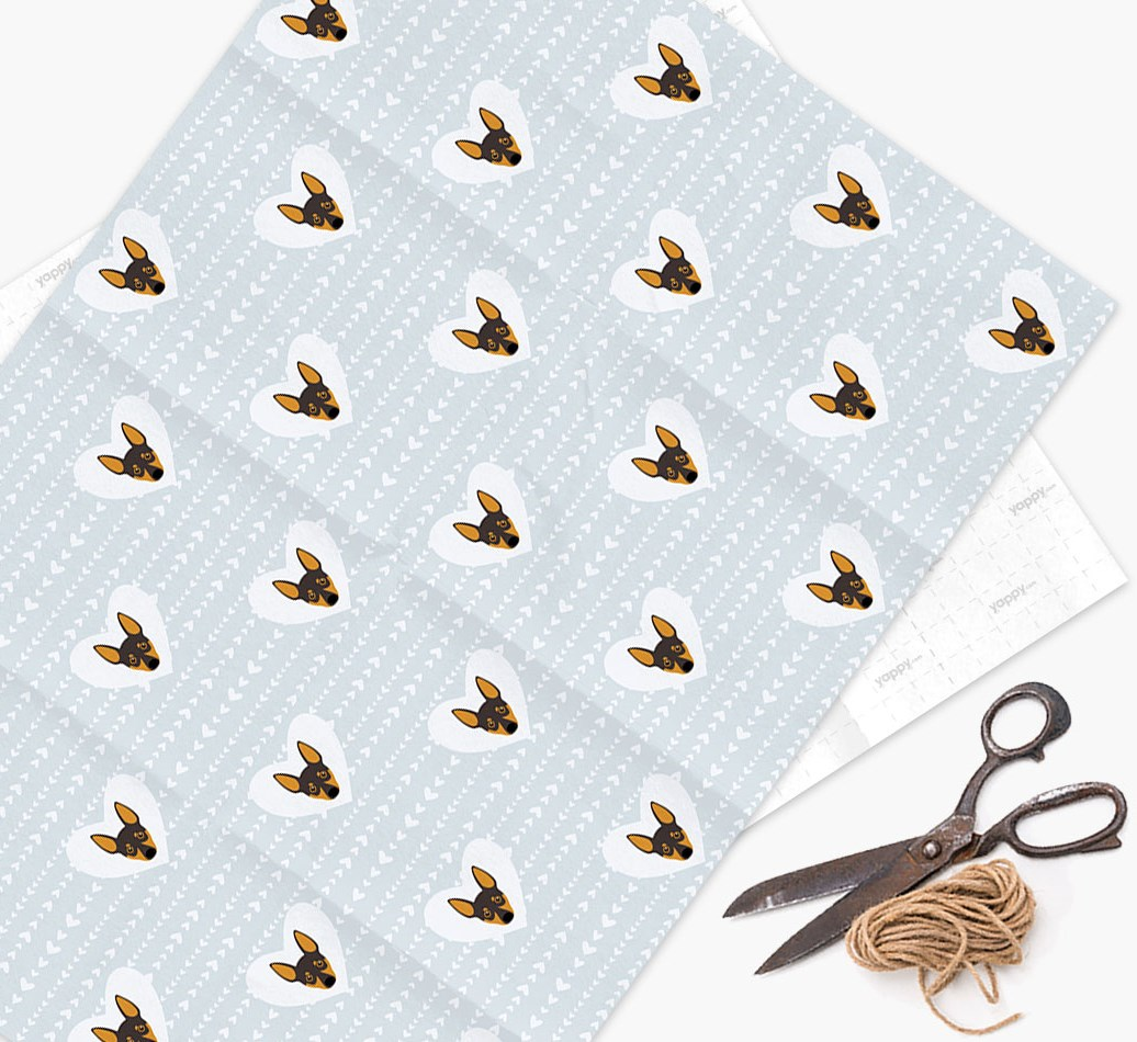 Wrapping Paper 'Hearts' with Miniature Pinscher Icons