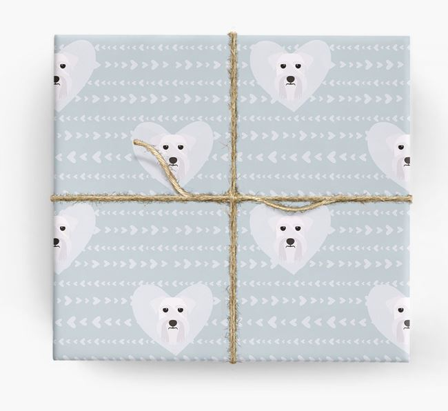 'Hearts' Wrapping Paper with Miniature Schnauzer Yappicons