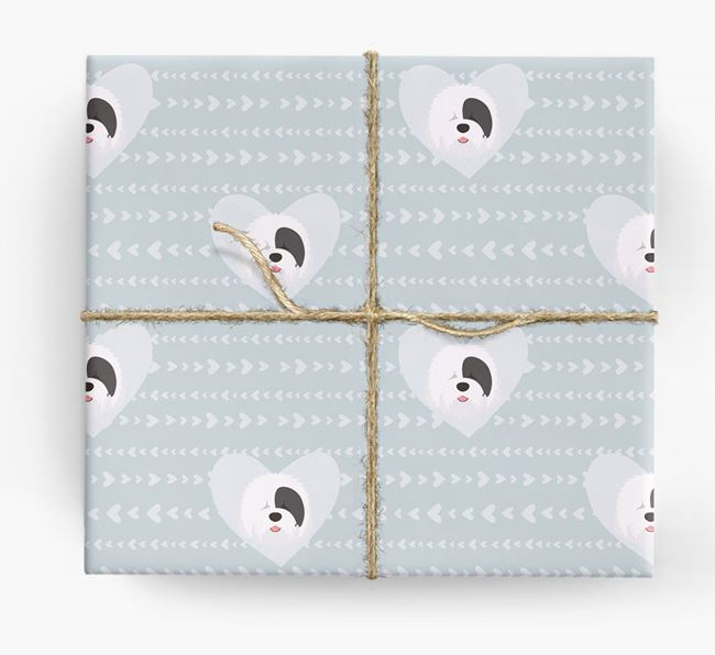 'Hearts' Wrapping Paper with Sheepdog Yappicons