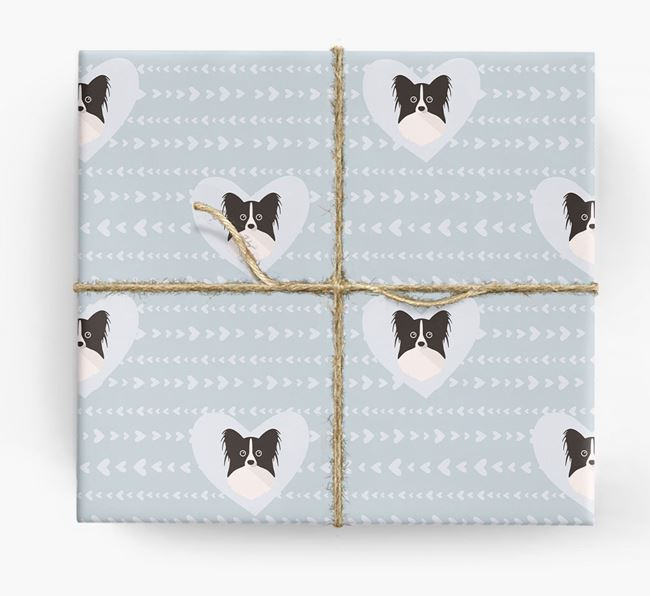 'Hearts' Wrapping Paper with Papillon Yappicons