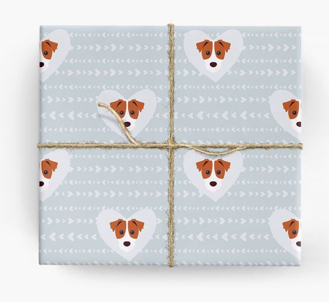 'Hearts' Wrapping Paper with Parson Russell Yappicons