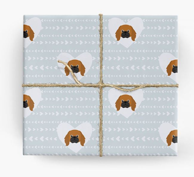 'Hearts' Wrapping Paper with Pekingese Yappicons