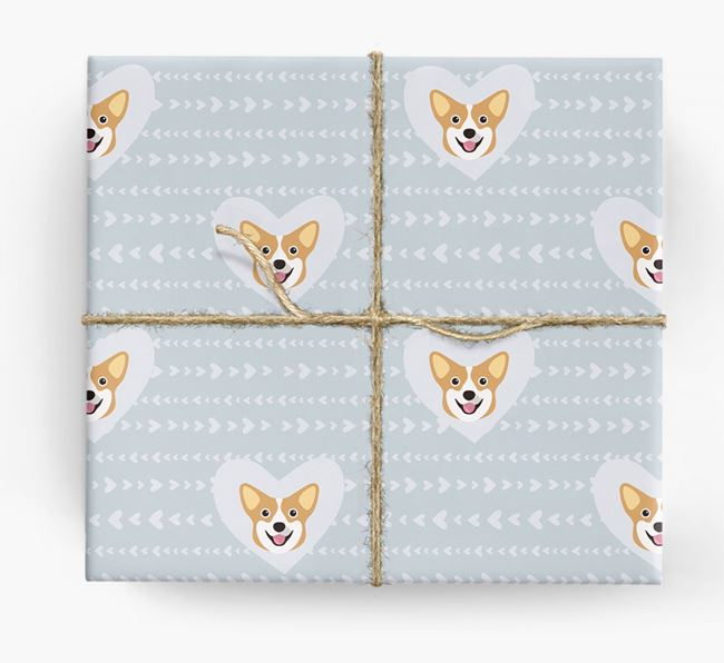 'Hearts' Wrapping Paper with Pembroke Corgi Yappicons