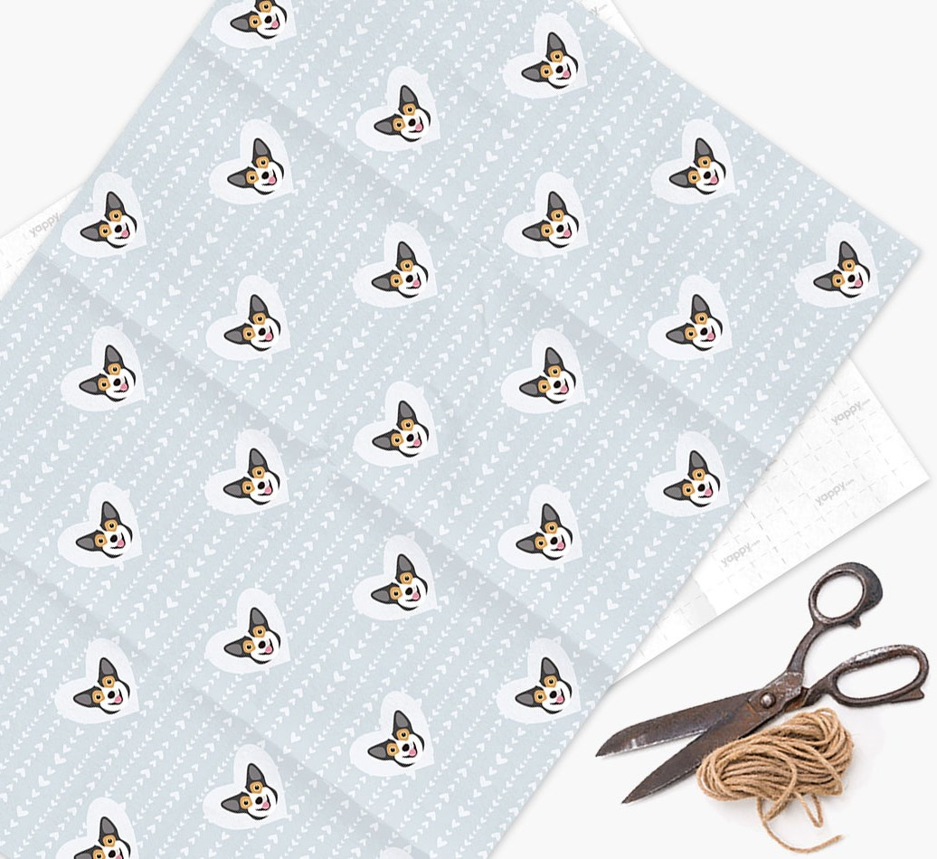 Wrapping Paper 'Hearts' with Pembroke Welsh Corgi Icons