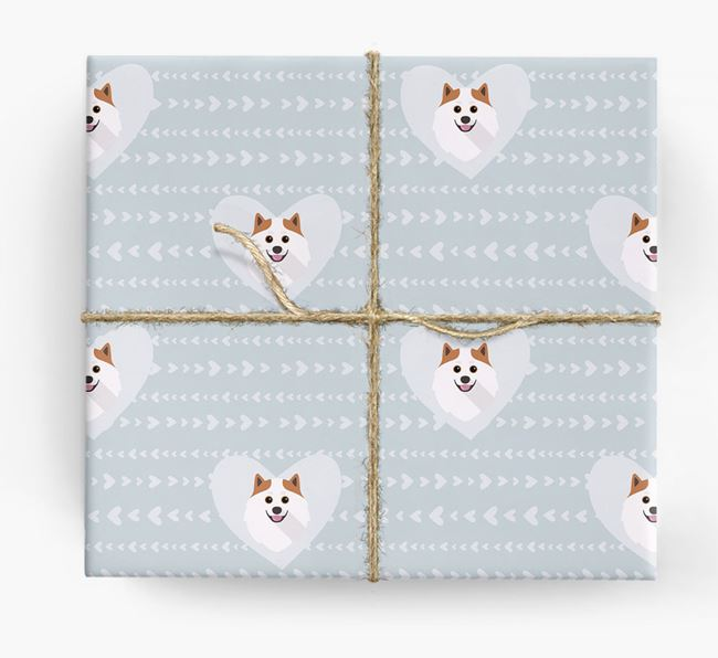 'Hearts' Wrapping Paper with Pomeranian Yappicons