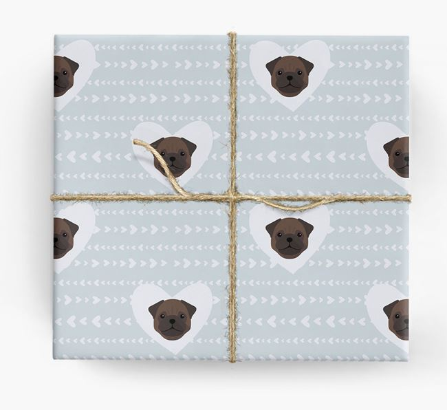 'Hearts' Wrapping Paper with Pug Yappicons