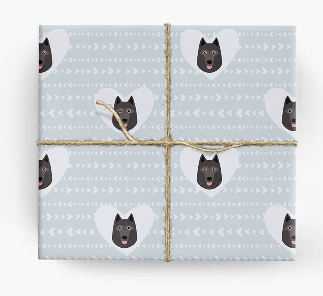 'Hearts' Wrapping Paper with Schipperke Yappicons