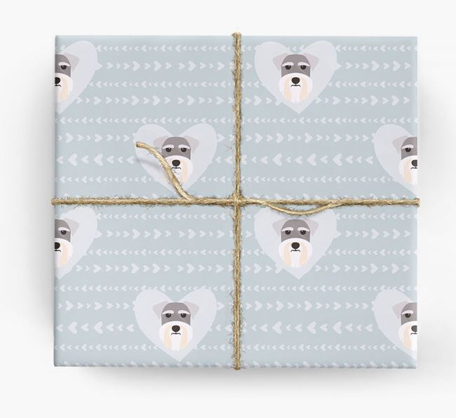 'Hearts' Wrapping Paper with Schnauzer Yappicons