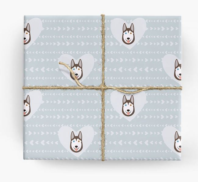 'Hearts' Wrapping Paper with Husky Yappicons