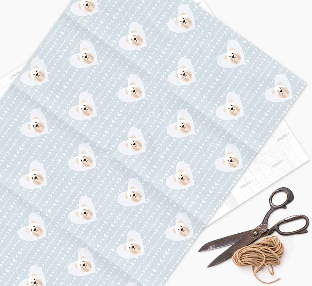 Wrapping Paper 'Hearts' with Soft Coated Wheaten Terrier Icons