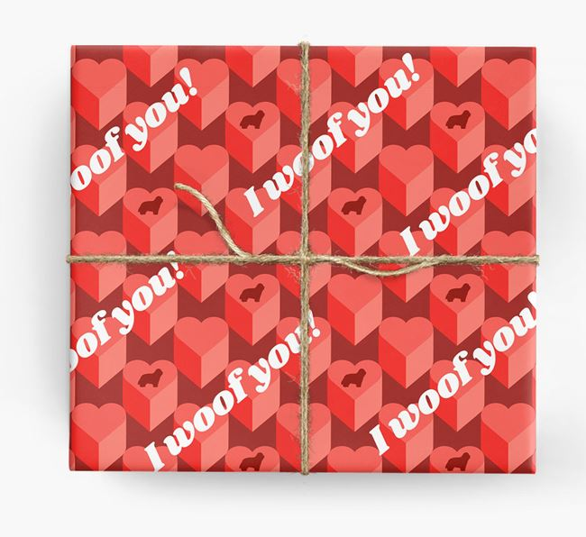 'I woof you!' Wrapping Paper with Bearded Collie Silhouettes