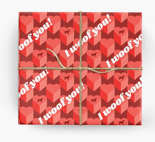 'I woof you!' Wrapping Paper with Borador Silhouettes