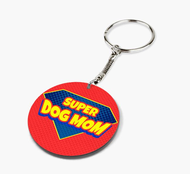 'Super Dog Mom' - Personalized Double-Sided Siberian Cocker Keyring