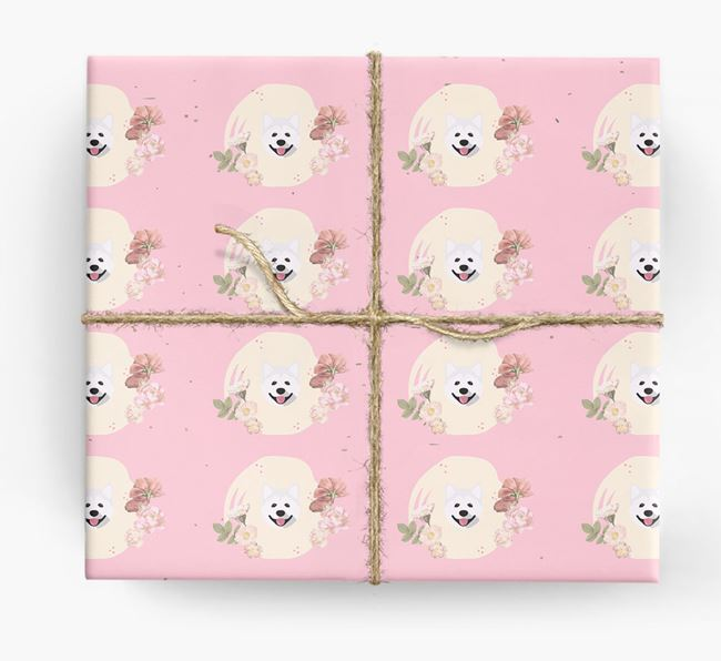 'Flower Pattern' - Personalized Akita Wrapping Paper