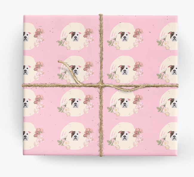 'Flower Pattern' - Personalized American Bulldog Wrapping Paper