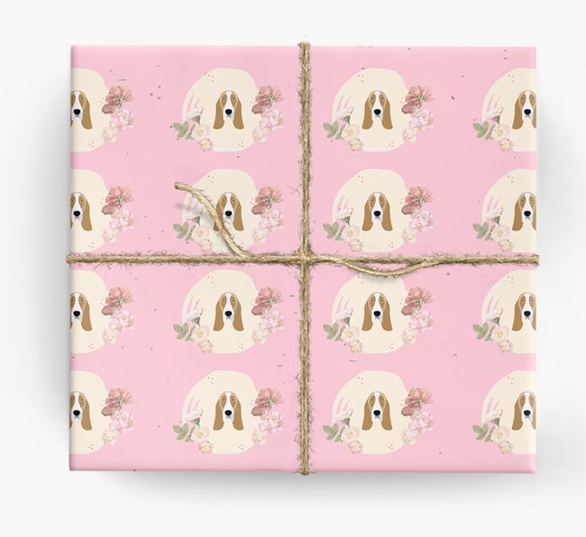 'Flower Pattern' - Personalized Basset Hound Wrapping Paper