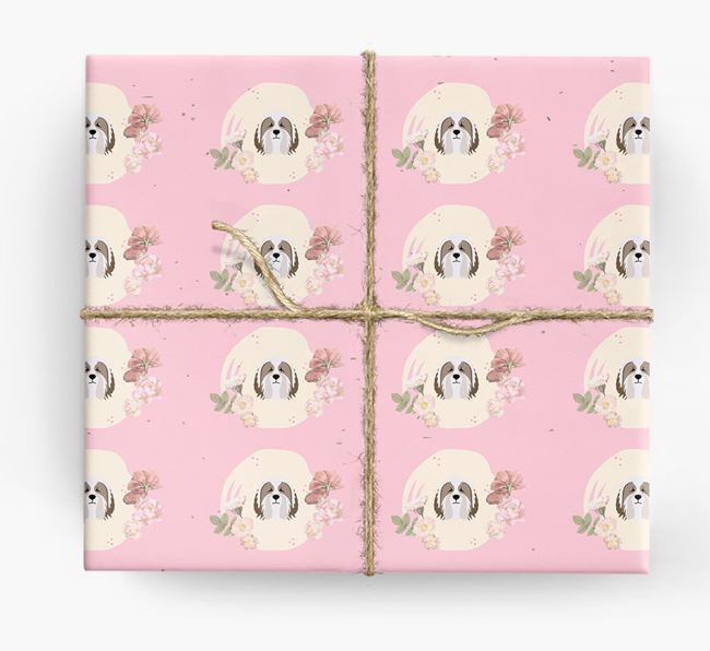 'Flower Pattern' - Personalized Bearded Collie Wrapping Paper